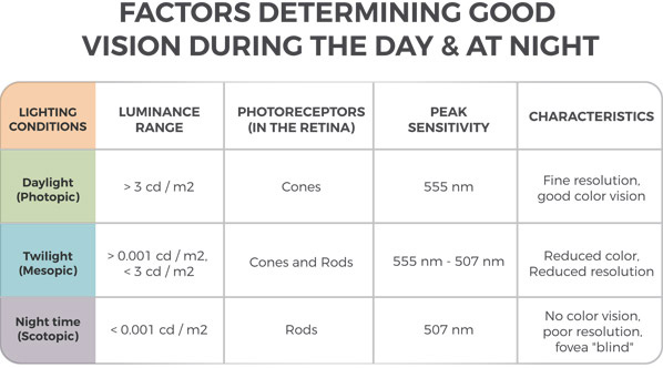FACTORS DETERMINING GOOD VISION DURING THE DAY & AT NIGHT